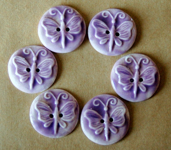6 Handmade Ceramic Buttons - Lavender Butterfly Buttons