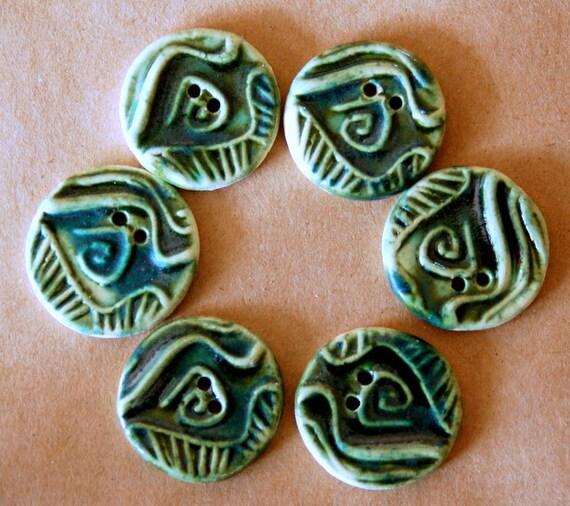 6 Handmade Ceramic Buttons - Tribal Spiral buttons in Deep Moss Green Gloss Glaze