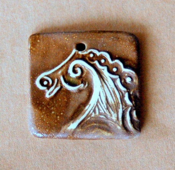 Ceramic Mini Tile Pendant Bead - Stoneware Horse Bead in Brown