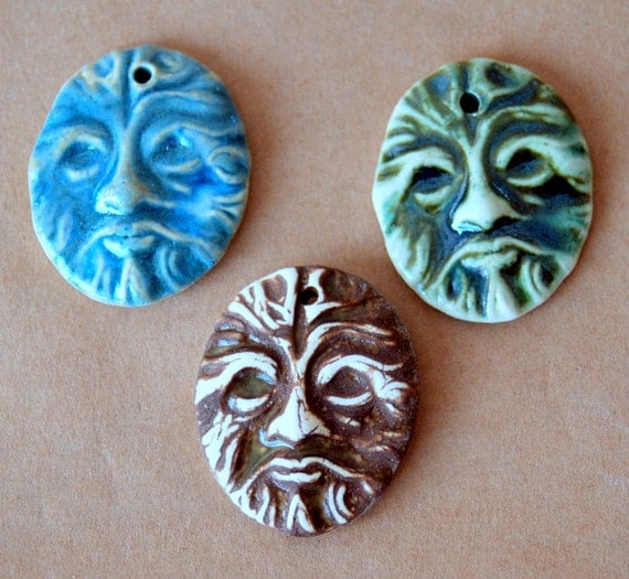 3 Greenman Beads - Hand made Ceramic beads with Ancient Celtic Greenman