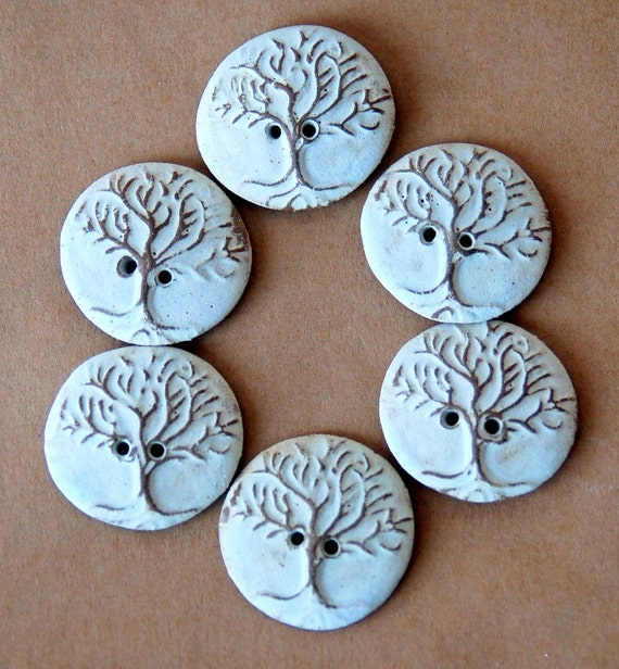 6 Handmade Ceramic Buttons - Tree of Life buttons in Neutral Stoneware - Perfect for Button Bracelets