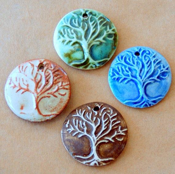 4 Handmade Ceramic Pendant beads - Tree of Life Beads