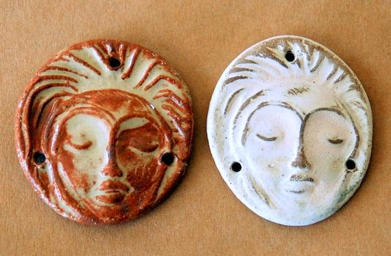 2 Sweet Ceramic Face Beads - 3 Holed Connector Beads - Meditation Goddess :)
