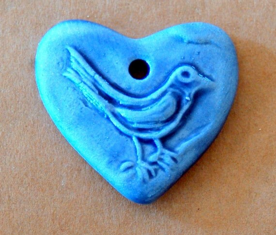 Sweet Ceramic Bird in a  Heart Pendant Bead