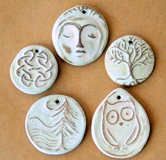 5 Handmade Stoneware  Beads - Natural Beads in Neutral