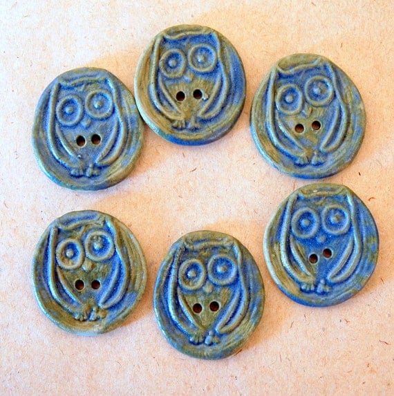 6 Handmade porcelain buttons- Owls in Ble-green
