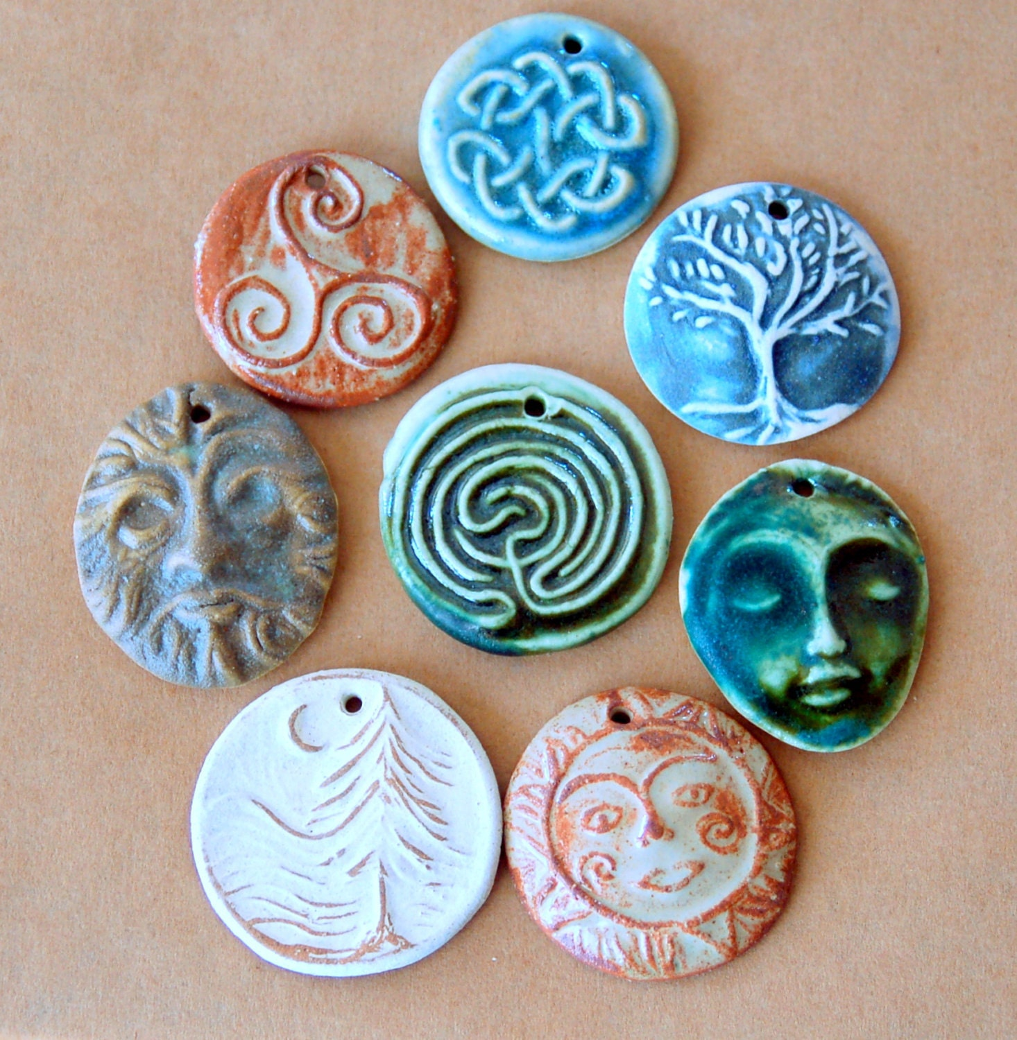 8 handmade ceramic mystical pendant assortment for