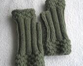 Olive Green Fingerless Gloves