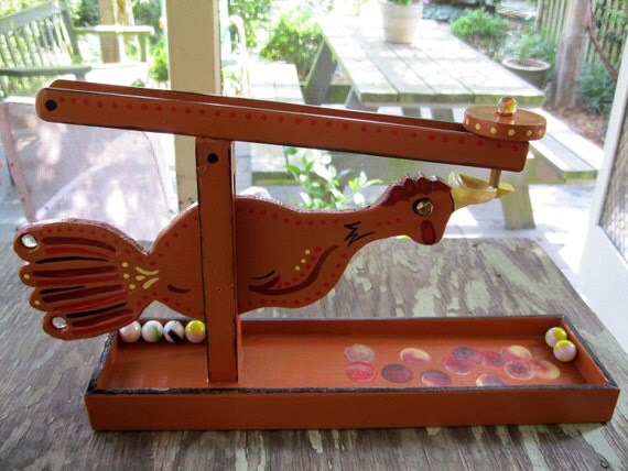 Wooden Toy, Marble Roller, Red Hen
