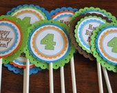 Cupcake Toppers. Cupcake Picks. Orange. Blue. Green. Brown. Name and age included. Set of 12