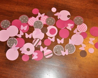 Confetti. Dots. Minis. Butterfly. Glitter. Neapolitan.  Features brown, pinks, and white. 125 Pieces