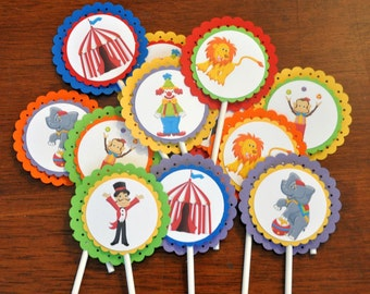Circus Cupcake Toppers. Carnival. Clown. Elephant. Monkey. Lion. Set of 12