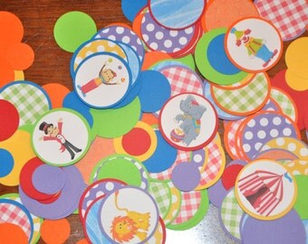 Circus Confetti. Minis. Dots. Birthday. Carnival. Big Top. Clown. Set of 125 pieces