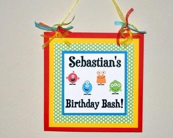 Door Sign: Monster. Monster Bash. Happy Birthday. Monster Door Sign. Birthday Party. First Birthday