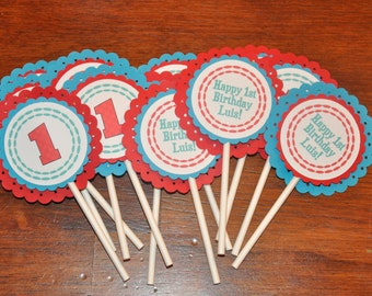 Happy Birthday Cupcake Toppers: Cupcake Picks. Red. Aqua. Choose Number.  First Birthday. Party. Set of 12