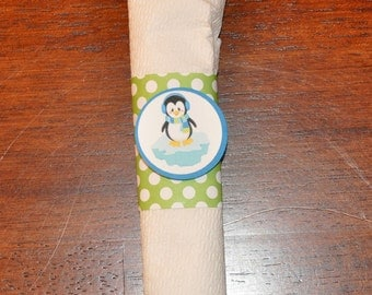 Napkin Rings: Penguin Winter Wonderland Napkin Rings Set of 12 / Winter Onederland Choose Boy or Girl