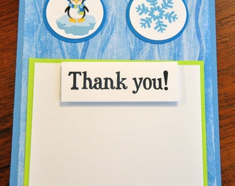 Penguin Winter Wonderland Handmade Thank You's Set of 6/ Winter Onederland Choose Boy or Girl