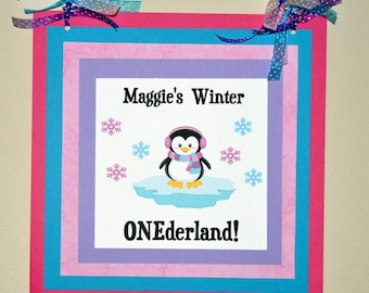 Penguin Door Sign: Winter Wonderland. Birthday. First Birthday. 1st Birthday.Door Sign / Winter Onederland Choose Girl or Boy