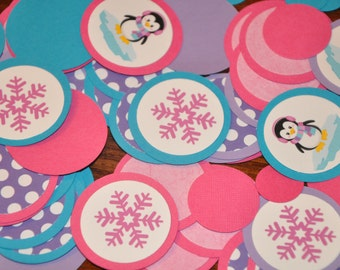 Confetti. Dots. Minis. Penguin Winter Wonderland Confetti Dots 125 pieces / Winter Onederland Choose Girl or Boy