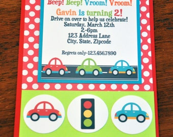 Car Invite. Car Invitation. Beep Beep. Vroom Vroom.  A2 size. Set of 6. Birthday Party. Vertical Card.