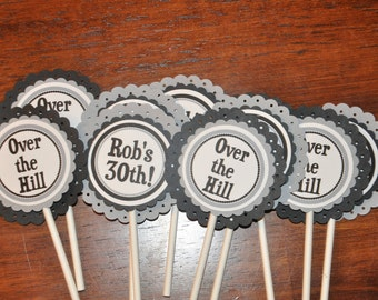 Cupcake Toppers. Happy Birthday. Choose Text.  Personalized. Black. Silver. Cupcake Picks. Set of 12