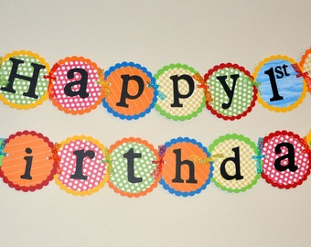 Birthday Banner. Happy Birthday. Primary Colors. Balloon. Bright Colors.