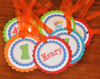 Favor Tags. Balloon. Red. Blue. Yellow. Orange. Green. Set of 12. Birthday. Balloon Tags. Up Up and Away.
