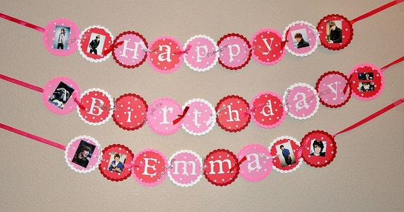 Handmade Justin Bieber Inspired Birthday Banner can be Customized