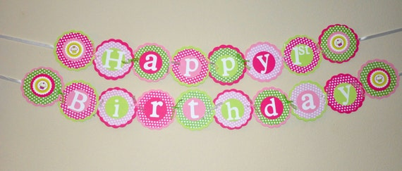 Cupcake Happy Birthday Banner. Polka Dots. Pinks. Green. Birthday Banner. Cupcake