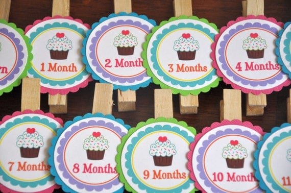 Cupcake Photo Clips. Photo Clips. Cupcakes. Set of 13. Newborn-12 Months. Girl Party.Photo Banner.  Green. Purple. Pink. Orange. Turquoise