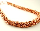 Solid Copper Uber Byzantine Chainmail Necklace - Square On Edge - Beyond Basic