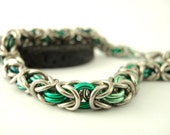 Green Rainbow Bracelet - Beyond Basic Byzantine - The Bright Side of Chainmaille