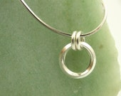 Endless On Edge Circle Pendant - Sterling Silver Necklace