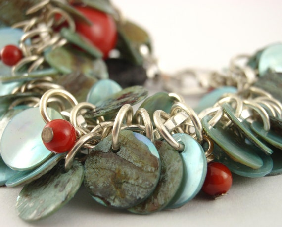 Shaggy Shell and Silver Bracelet - Red Accents - Ready to Ship