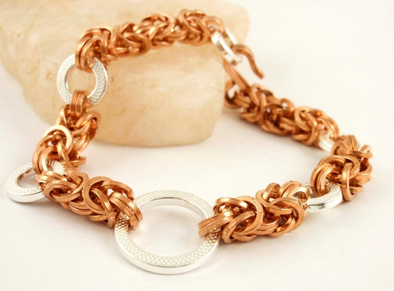 Half Price Summer Sale Sterling Silver and Square Bronze Bracelet -  Byzantine Chainmail