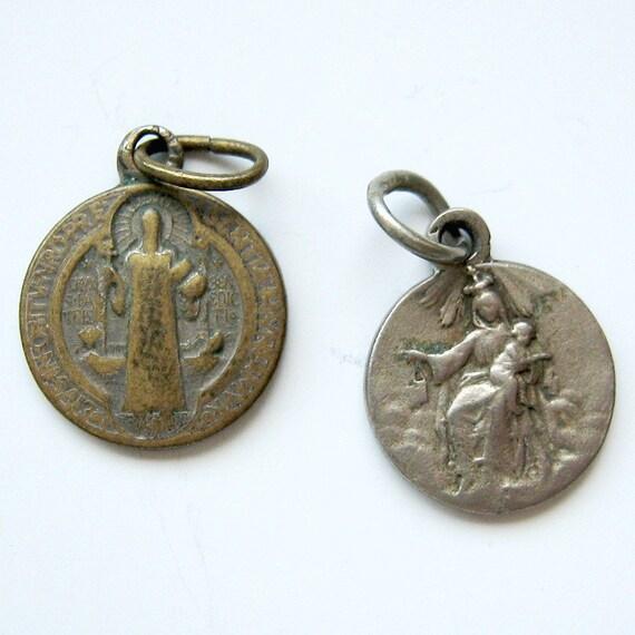 Virgin of Carmel. St Benedict Lot of 2 Vintage Medals