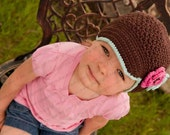"Newsboy Hat Crocheted ""The Kacey""Chocolate Robin's Egg Hot Pink Brimmed Hat Skater Toddler Girl"
