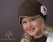 THE SABLE Crocheted Newsboy Chocolate/Pastel Pink/Cream