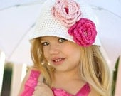 """Crocheted Cloche Hat """"The Emma Rose"""" White, Hot Pink, Pastel Pink Bucket Hat Choose your Size/Colors"""