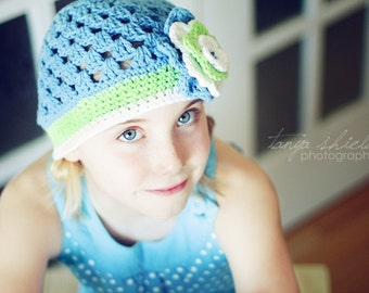"Crocheted Beanie ""The Cassie"" Blue, Lime, White, Flower Open Weave Custom Colors"