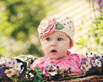 """Beanie Hat Crocheted """"The Adria"""" Ecru Rose Pink Sage Open Weave Style Flower Accent Leaves"""