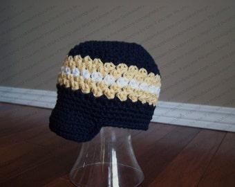 Newsboy Hat Crocheted Winnipeg Blue Bombers Navy/Gold/White Football CFL Winnipeg Blue Bombers Sports Team