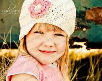 "Newsboy Hat Crocheted ""The Jacey"" Ecru Rose Pink Skater Visor Beanie Brimmed hat Flower"