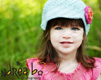 The TAMARA Crocheted Newsboy Baby Blue/Tavern Green/Tangerine/Hot Pink Brimmed Hat Skater Choose Your Size and Color