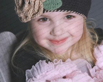 "Beanie Hat Crocheted ""The Portia"" Black Jute Sage Open Weave eanie Trim Flower Accent Leaves"