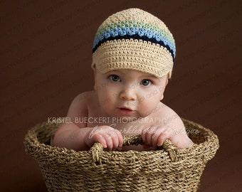 "Crocheted Newsboy Hat ""The Alex"" Beige, Navy, Light Blue, Celery Brimmed Hat Visor Beanie Choose Your Size"