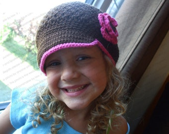 "Crocheted Newsboy Hat ""The Paola"" Chocolate Hot Pink Brimmed Hat Trim Visor Beanie"