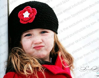 "Newsboy Hat Crocheted ""The Emersyn Renee"" Visor Beanie Brimmed Hat  Black Red White Flower Accent"