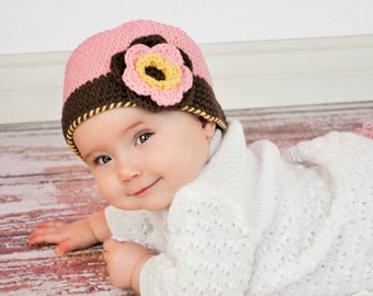 """Crocheted Cloche Hat """"The Damaris"""" Rose Pink Chocolate Country Yellow Bucket Hat Trim Flowers Leaves"""