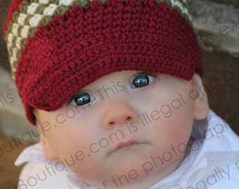 "Newsboy Hat Crocheted ""The Zander"" Wine Olive Ivory Brimmed Hat Visor Beanie Stripes"